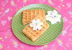 Waffles with cream Royalty Free Stock Photo