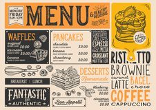 Waffles and crepes menu restaurant, food template. Waffles and crepes restaurant menu. Vector pancake food flyer for bar and cafe. Design template with vintage vector illustration