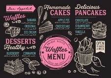 Waffles and crepes menu restaurant, food template. Waffles and crepes restaurant menu. Vector pancake food flyer for bar and cafe. Design template with vintage stock illustration