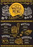 Waffles and crepes menu restaurant, food template. Waffles and crepes restaurant menu. Vector pancake food flyer for bar and cafe. Design template with vintage royalty free illustration