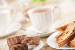Waffles and cup of tea Royalty Free Stock Image