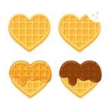 Waffles dados forma coração ilustração do vetor