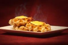3 waffles de fumo quentes Imagem de Stock