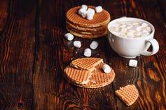 Waffles de Stroop e chocolate quente com marshmallow Imagens de Stock Royalty Free