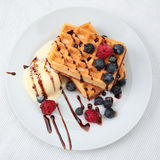 Waffles Dessert with Fruits Stock Photography