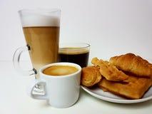Waffles do café de Americano do latte do café Fotografia de Stock Royalty Free