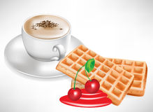 Waffles do café e da cereja Imagem de Stock