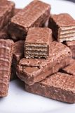 Waffles do chocolate em uma placa fotos de stock