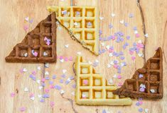 waffles do leite e do chocolate foto de stock