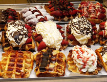 Waffles doces belgas Imagem de Stock Royalty Free
