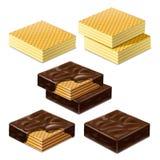 Waffles e leite Imagem de Stock Royalty Free