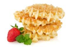 Waffles e morango imagem de stock