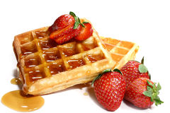 Waffles e morangos Fotografia de Stock Royalty Free