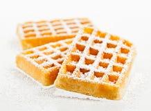 Waffles em um fundo branco Imagens de Stock