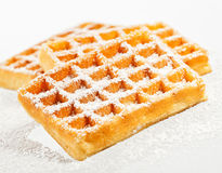 Waffles em um fundo branco Imagens de Stock Royalty Free