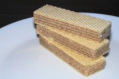 Waffles em uma placa branca Imagem de Stock