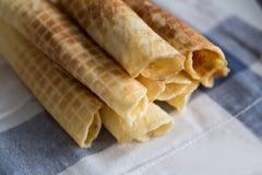Waffles em uma toalha Imagens de Stock Royalty Free