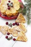 Waffles frescos na forma do coração Imagens de Stock