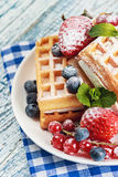 Waffles with fresh berries Royalty Free Stock Photography