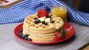 Waffles With Fresh Berries  Royalty Free Stock Photos