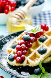 waffles with fresh berries Stock Photography