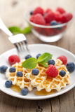 Waffles with fresh berries and honey Royalty Free Stock Photos