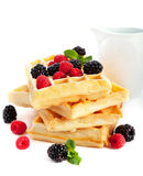 Waffles with fresh berries Royalty Free Stock Photo