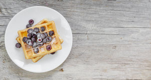 Waffles and fresh berries Stock Images