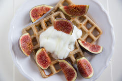 Waffles with fresh figs Royalty Free Stock Photo