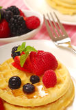 Waffles with fresh fruit Royalty Free Stock Images
