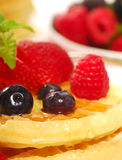 Waffles with fresh fruit Stock Photography