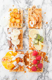 Waffles with fresh fruits Stock Photos