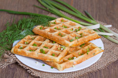 Waffles with fresh herbs and cheese. On the plate Royalty Free Stock Photos