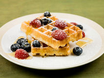Waffles With Fresh Raspberries and Blueberries Stock Images