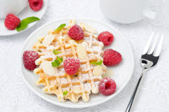 Waffles with fresh raspberries and nuts on a plate for breakfast. Top view closeup Royalty Free Stock Images