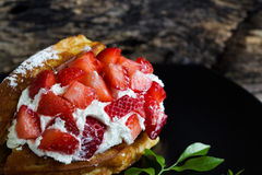 Waffles with fresh strawberry and cream Stock Images