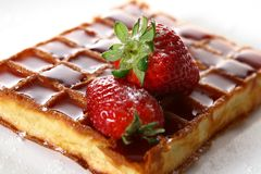Waffles with fresh strawberry and jam stock images