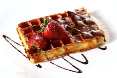 Waffles with fresh strawberry and jam Royalty Free Stock Images