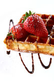 Waffles with fresh strawberry and jam Stock Image