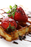Waffles with fresh strawberry and jam Royalty Free Stock Photo