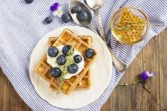 Waffles friáveis frescos caseiros para o café da manhã com mirtilos Fotografia de Stock Royalty Free