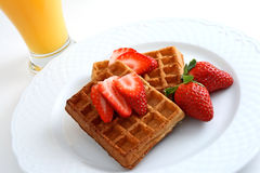 Waffles and fruit  Royalty Free Stock Images