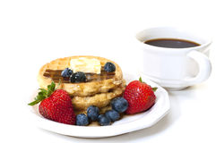Waffles and Fruit Breakfast with Coffee Stock Images