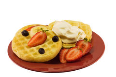 Waffles with Fruit and Cream Royalty Free Stock Photo