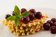 Waffles with fruit. Waffles with fresh cherries and mint on a white plate Royalty Free Stock Image