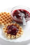 Waffles with fruit jam Stock Photos