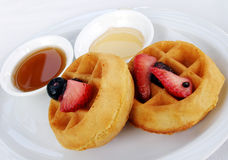 Waffles, fruit and maple syrup Stock Photo