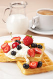 Waffles with fruits stock photos