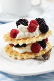Waffles with fruits royalty free stock photos