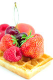 Waffles and fruits Royalty Free Stock Photography